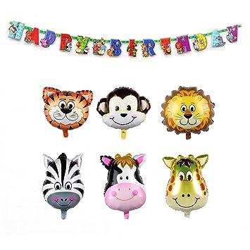 AerWo 6pcs de 22Inch Safari Animal Balloons Decoraciones de cumpleaños para niños con Animal Happy Birthday Banner (78inch / 2m) Banner de decoración ...