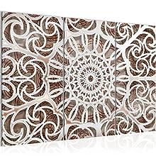 Cuadro abstracto de mandala 120 x 80 cm fieltro – Lienzo XXL Formato de pared pared pared salón hogar decoración arte impresión marrón 3 piezas – Fabricado en Alemania – listo para colgar 109631a