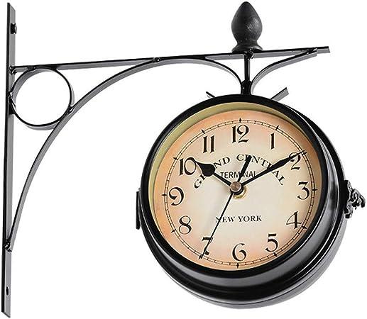 vrsupin0 Reloj de Pared Decoración Funciona con Pilas Und Doble Cara Jardín Estación Café Barra Estilo Europeo Montaje Retro Colgante Metal Exterior Vintage (Blanco) - Negro, Free Size: Amazon.es: Hogar