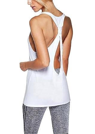 7459f13c81351 Amazon.com  Bestisun Yoga Workout Top Backless Casual Shirts Knot Back  Activewear Racerback Tank Top for Women  Clothing