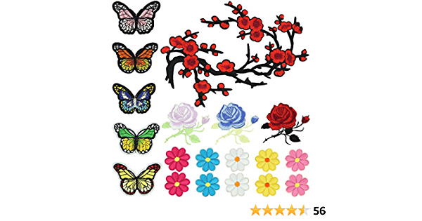 Satkago Parches de Hierro Ropa, 19 Piezas de Flores Mariposas ...