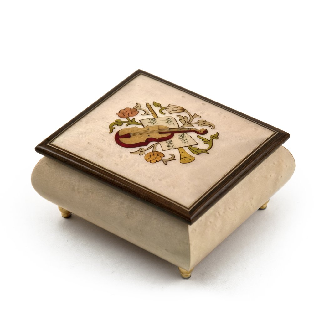 Sophisticated Cream Stain Music Box with Violin Wood Inlay - God Bless America (Irving Berlin) - SWISS