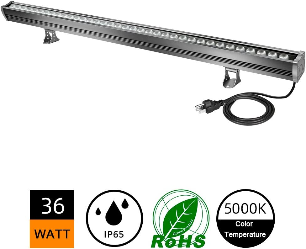 New Upgraded LED Wall Washer Lights with Waterproof Breather Valve, YRXC 36W Plug in LED Light Bar, 5000K Daylight Waterproof Outdoor Indoor Bar for Art Display, Sign, Garage, Room, Landscape