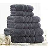 Egyptian Cotton Bath Sheet 600gsm Luxury Extra Large Jumbo Thick Bathroom Towels Striped Super Soft Combed Highly Absorbent Towels 90 x 140 Cm , Charcoal by De Lavish