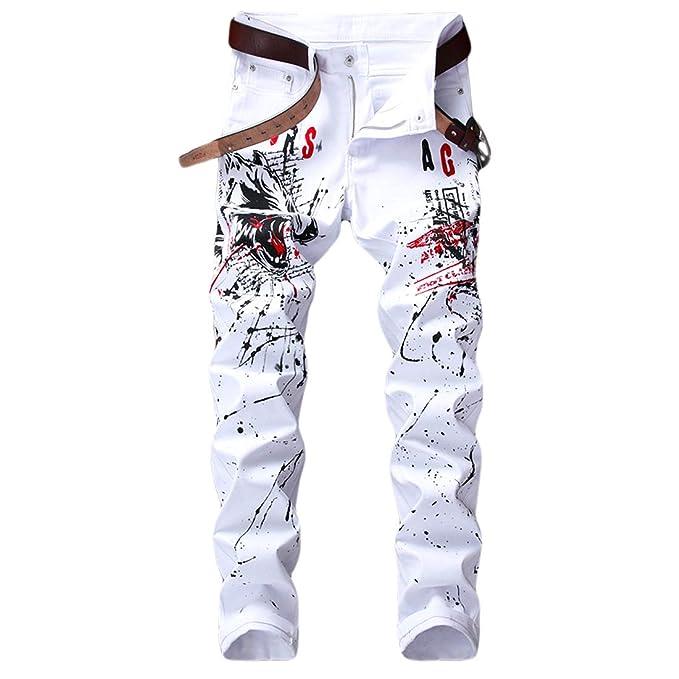 Amazon.com: Geurzc Pantalones vaqueros para hombre, diseño ...