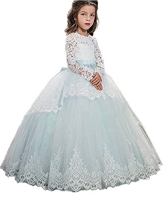 3df32805a4f2 Kauste Long Sleeve Lace Pageant Dresses for Flower Girls Ball Gown Long  Kids Gown KA013