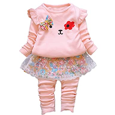 5ca5b5bba Amazon.com  Infant Little Baby Girls Clothing Set 2 Pieces Set Long ...