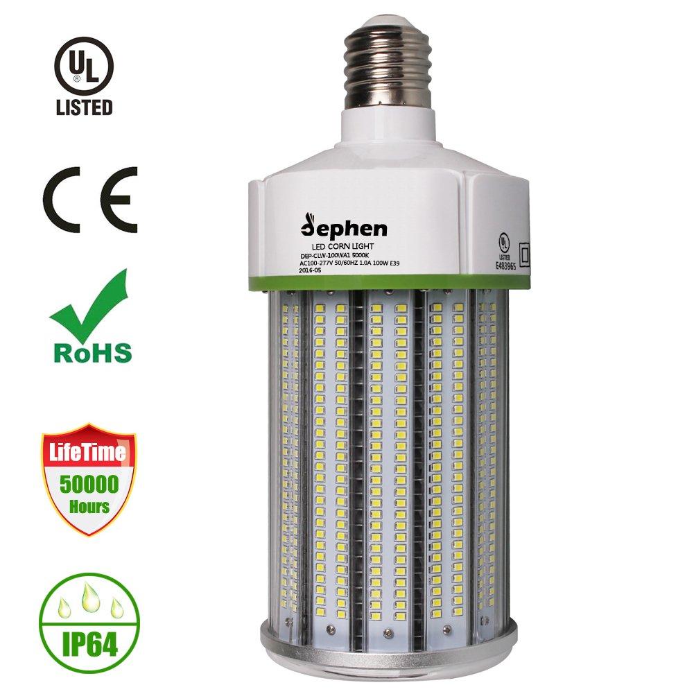 Dephen 100W LED Corn Light Bulb, 13500lumen (700W Equivalent), Large Mogul Screw E39 Base, Daylight 5000K LED Retrofit Lamp, 360 Degree Flood Light, Replacement for Metal Halide Bulb, HID, CFL, HPS