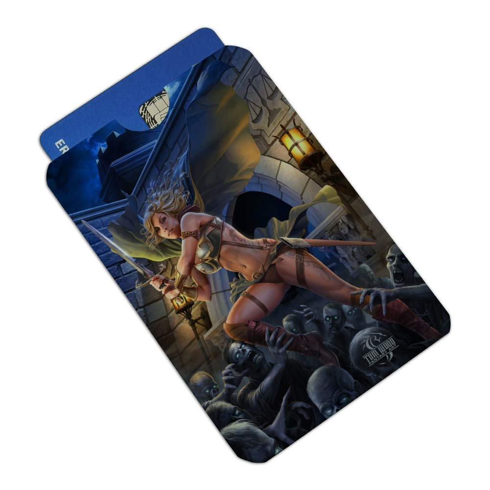 Warrior Maiden Zombie Undead Slayer Fantasy Credit Card RFID Blocker Holder Protector Wallet Purse Sleeves Set of 4