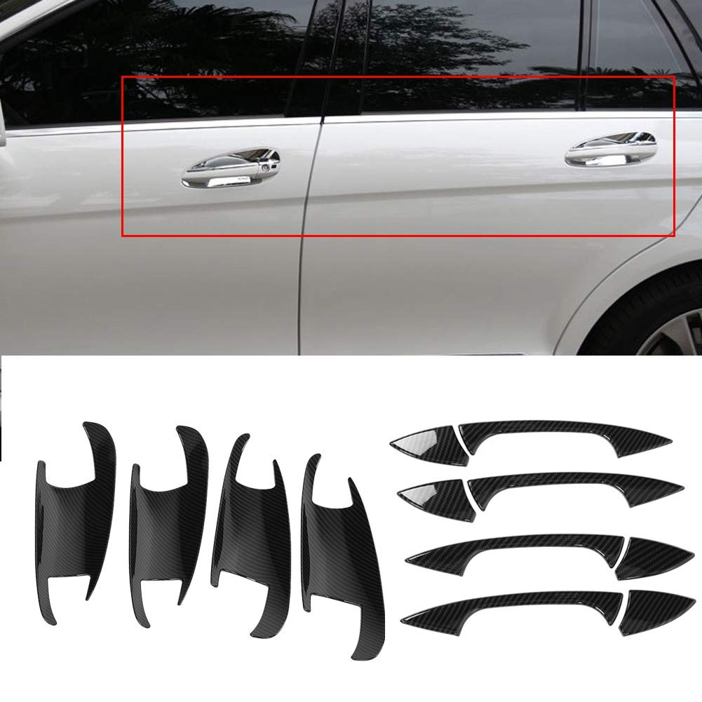 Cuque Door Handle Bowl Cover ABS Plastic Carbon Fiber Style Door Handle /& Door Bowl Cover Trim for A B C E Class