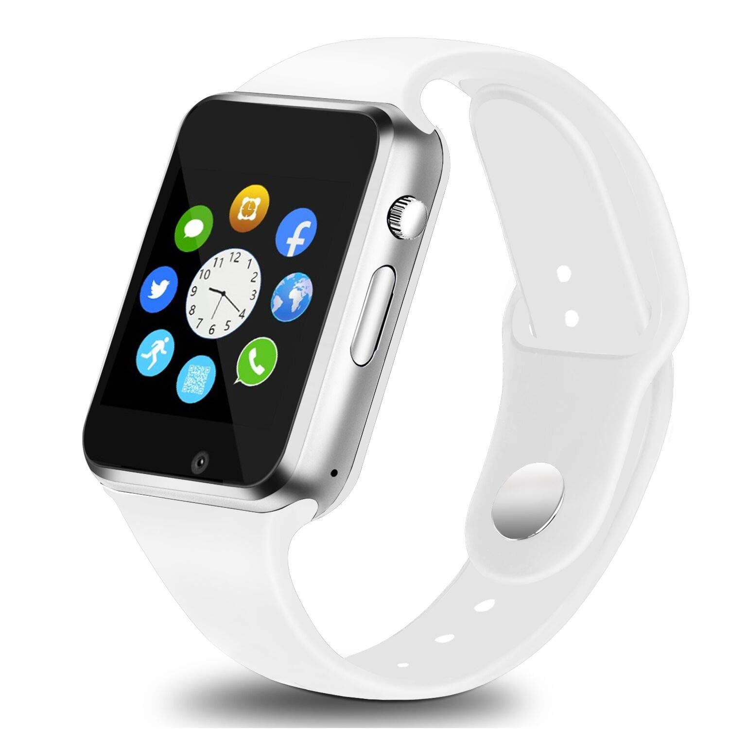 Aeifond Smart Watch Bluetooth Smartwatch Touch Screen Wrist Watch Sports Fitness Tracker with Camera SIM SD Card Slot Pedometer Compatible iPhone iOS Samsung LG Android Men Women Kids (White)