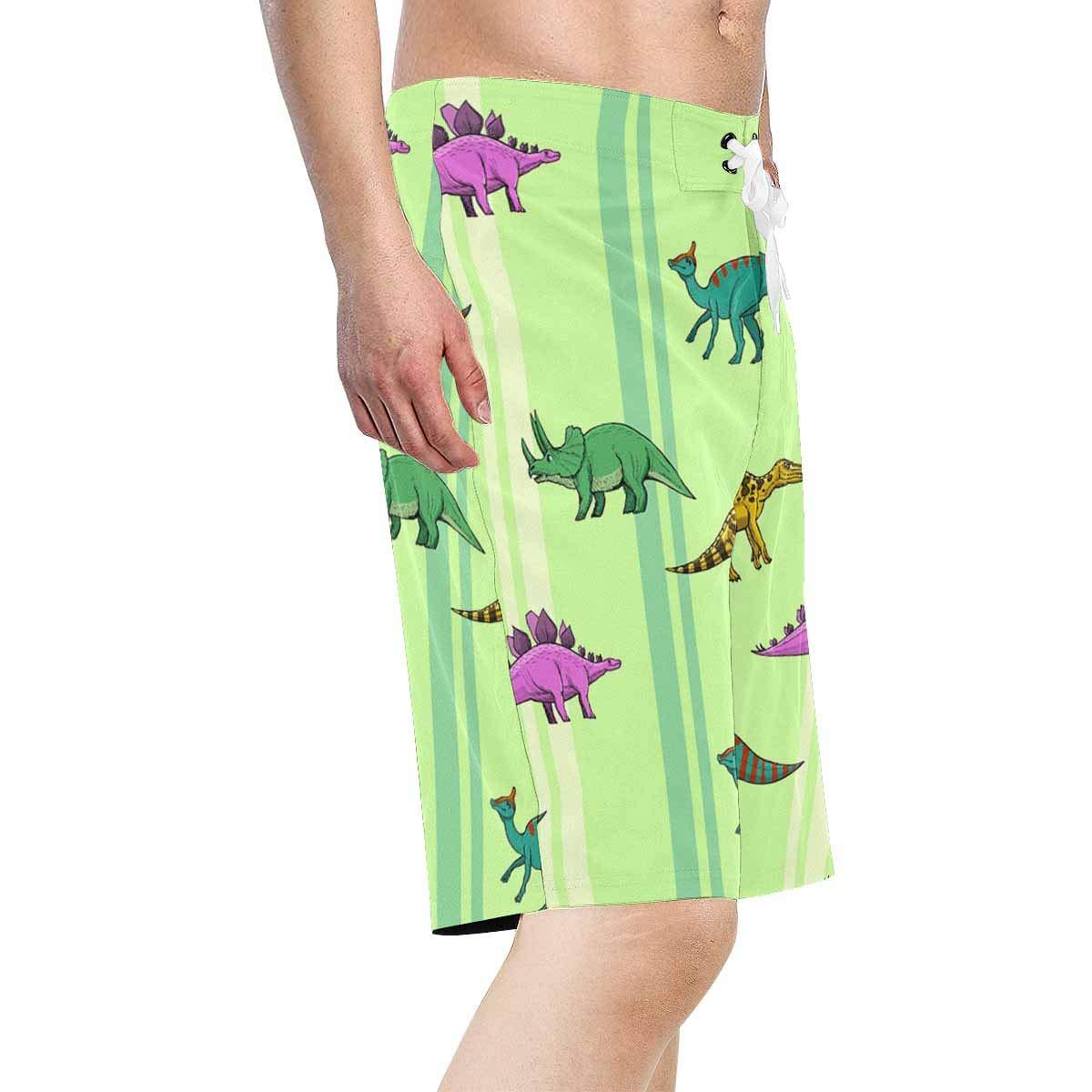 XS-6XL INTERESTPRINT Mens Beach Board Shorts Cute Dinosaur Green Quick Dry Swim Trunks