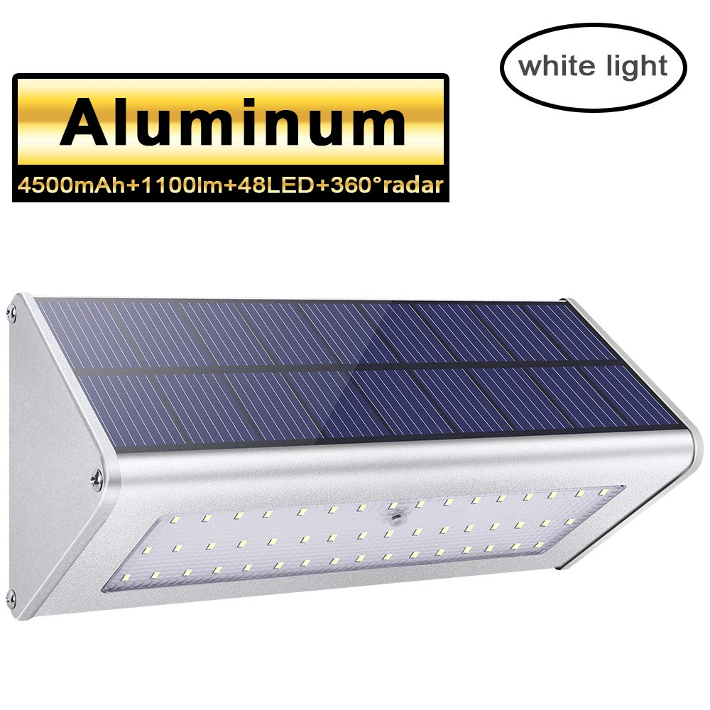 48 LED Solar Outdoor Lights 1100lm 4500mAh Aluminum Alloy Housing 360 Radar Motion Sensor IP65 Waterproof Outdoor Security Solar Lights, for Step, Garden, Yard,Fence, Deck-White Light