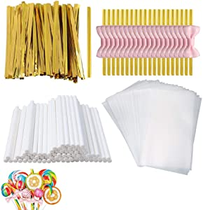 SUMAJU 300 Pcs Treat Bags Set, Lollipop Set Including 100 Pcs Parcel Bags,100 Pcs Treat Sticks,100pcs Gold Metallic Twist Ties Cake Pop Kit Making Tools