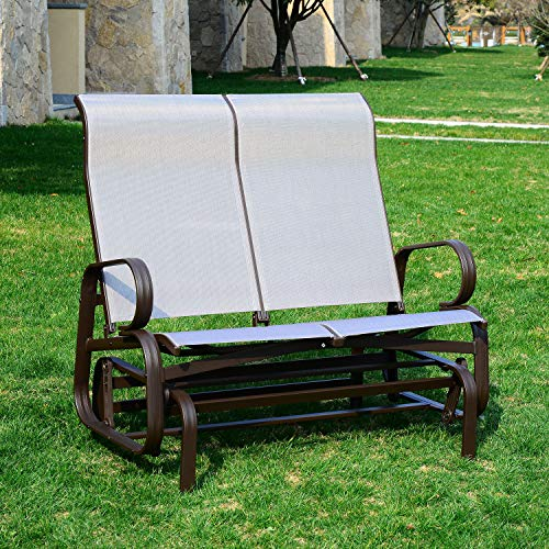 Lares & Penates Patio Glider Bench Outdoor 2 Person Swing Loveseat Rocking Seating Patio Rocker Lounge Glider Chair Sturdy Frame Sling Fabric - Gray ()