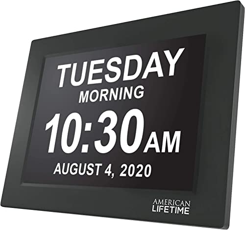 American Lifetime Newest Version, 12 Inch Day Clock Extra Large Impaired Vision Digital Clock with Battery Backup and 5 Alarm Options, Black