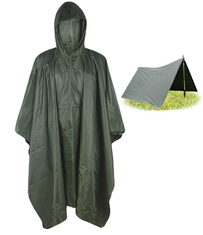 T-wilker 3 in1 Rain Poncho Waterproof Camouflage Ripstop Rain Jacket Batwing-sleeved Rain Coat with Hoods (Green) by T-wilker