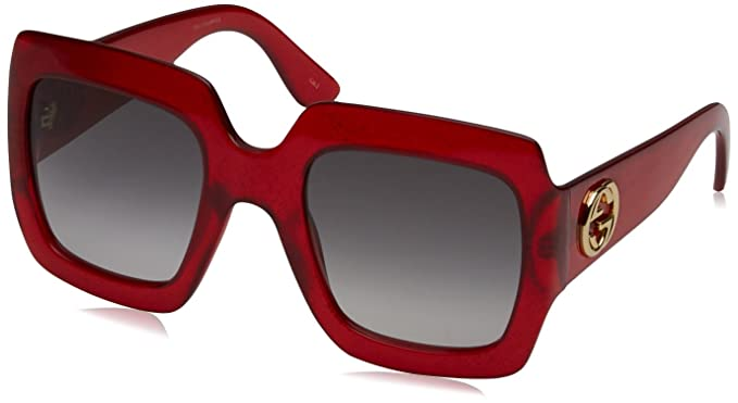 Gucci Damen Sonnenbrille GG0053S 003, Rot (Red/Grey), 54