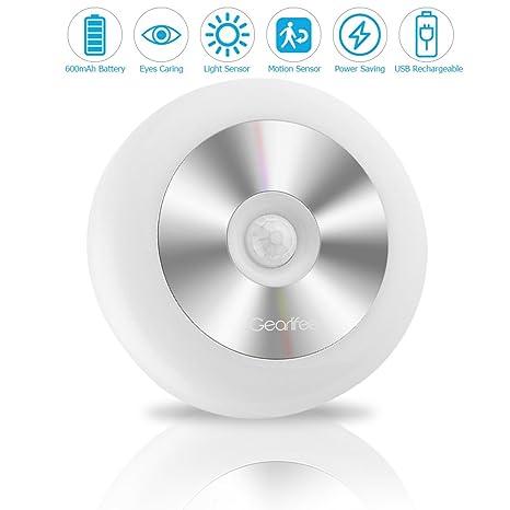 Luces con Sensor de Movimiento,Gearlifee Luz Nocturna Infantil tres modos USB recargable LED Luz