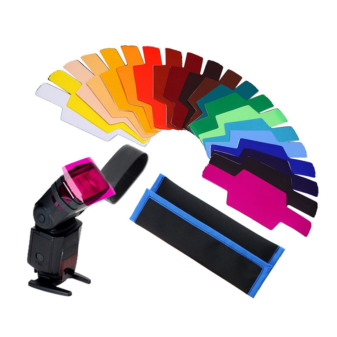 AGPtek 20 Color Photographic Gels Filter for Canon/Nikon/Oloong/Yongnuo FLash/Speedlite