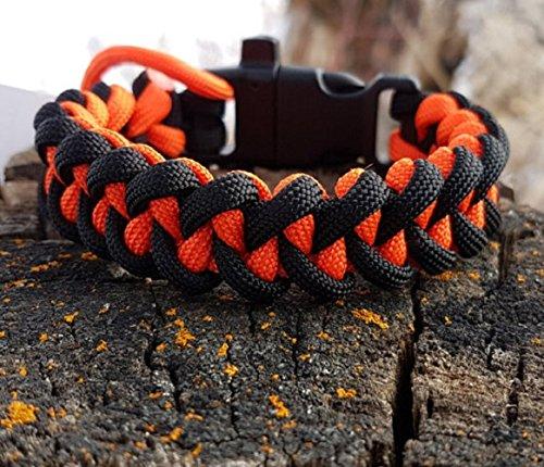 Shark Jaw Bone Paracord Bracelet-Orange/Black