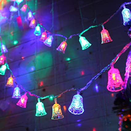 Christmas String Lights.Christmas String Lights Battery Operated Led Outdoor String Lights 2 Modes Waterproof Bells String Lights Multicolor For Christmas Decor Party