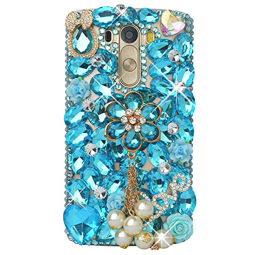LG G4 Case, LG G4 Bling Case-Spritech(TM) 3D Handmade Colorful Diamond Bling with Butterfly Flower Decoration Decoration Hard Clear Case for LG G4 H81…