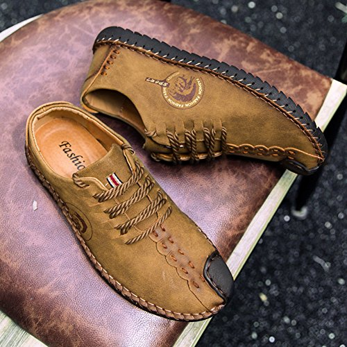 Mocassins Pour Low Marron Cuir Loisirs Sneakers En lacets Juleya Walking Driving On Slip Casual Hommes Car Noir Chaussures top Jaune Oxfords Marron Confortable wYx7Oqf