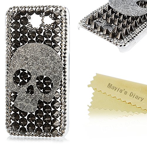Galaxy J3 Emerge Case – 3D Handmade Bling Black Diamonds Crystal Luxury Cool Embossed Floral Skull Shiny Sparkle Rhinestones Gems Clear Hard PC Case C…