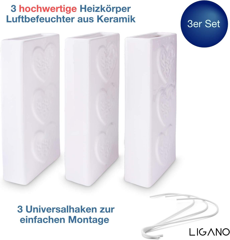 A1677 Set di 4 umidificatori in ceramica GEO lungo piatto per il fissaggio al termosifone