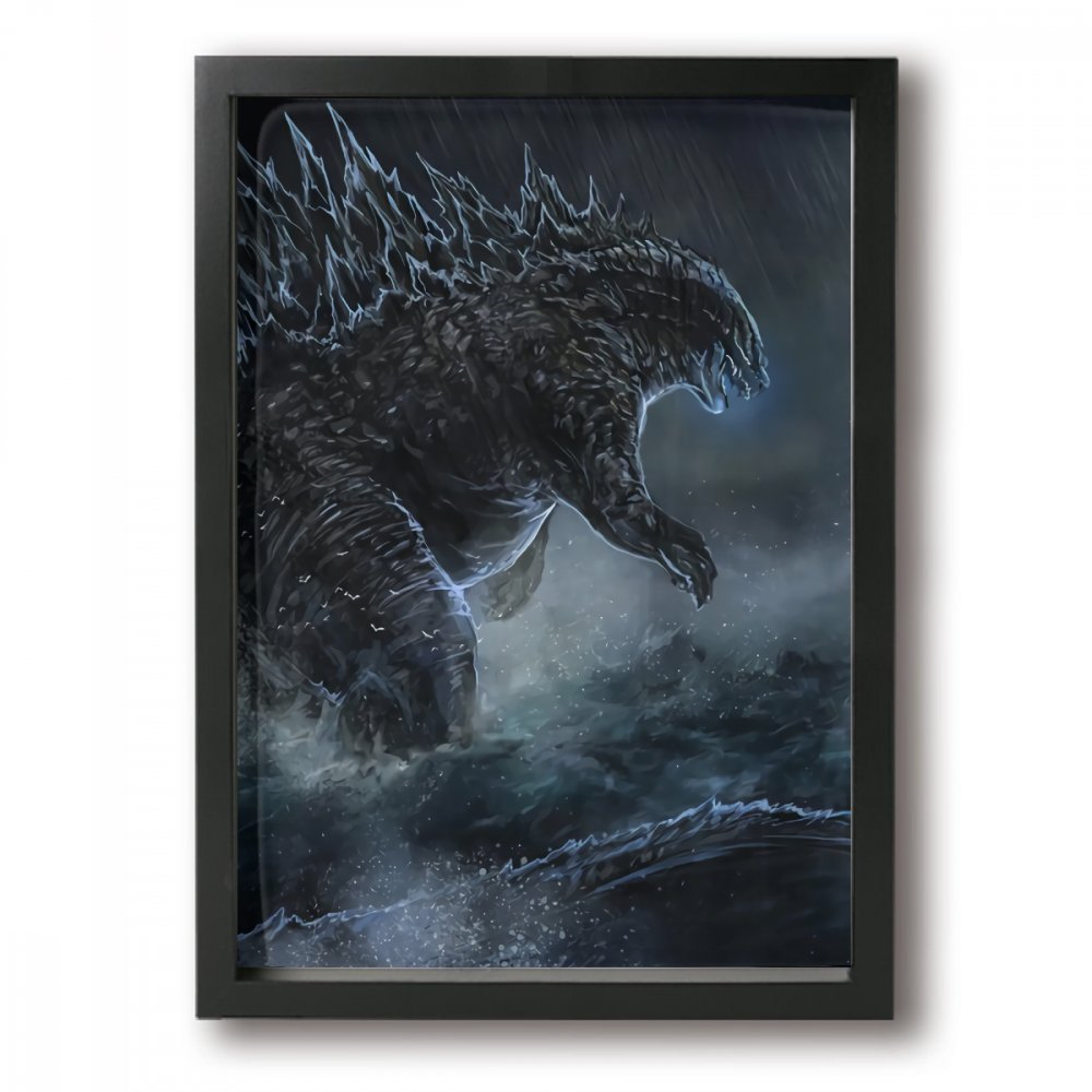 Little Monster Godzilla is Coming Stretched Pictures On Canvas Home Decorations Comics Art for Kids Bedroom Living Room Black