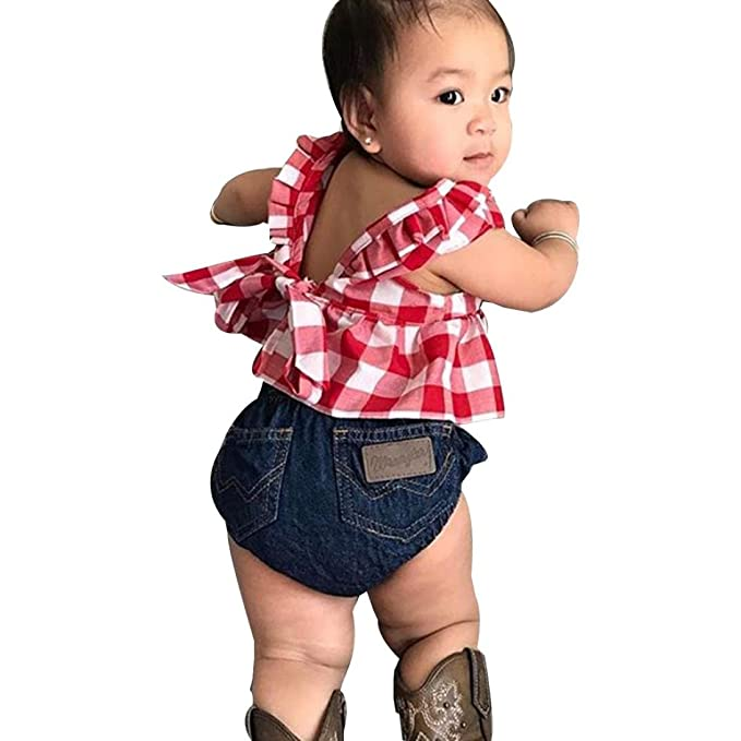 45cf9248b168 Amazon.com  Goodlock Toddler Kids Fashion Clothes Set Baby Girl Summer  Plaid Skirted T-Shirt Tops+Denim Shorts Outfits Set 3Pcs (Size 12M)   Clothing
