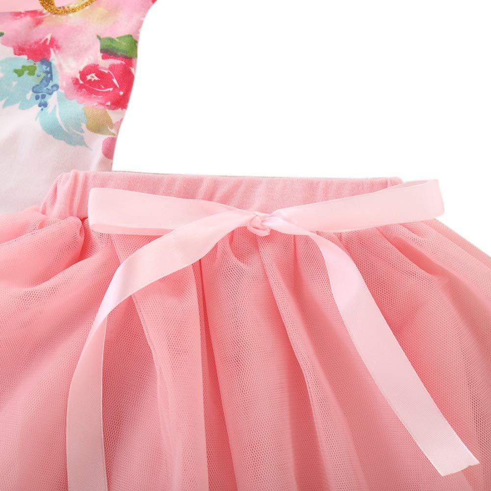 2 St/ück Fr/ühling Herbst Set Baby M/ädchen Tutu Kleid Outfit 1st Birthday Langarm Floral Strampler Tops T/üll Rock