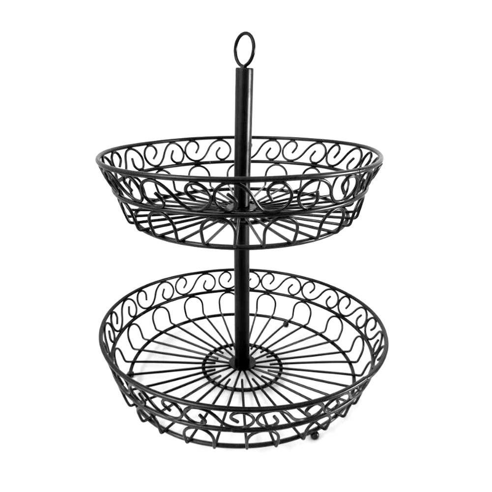 Yunt 2-Tier Fruit Basket, Wire Decorative Standing Basket Bowl with Scrollwork Design for Fruit,Vegetables,Candy,Snacks