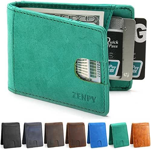 Zenpy RFID Blocking Bifold Front Pocket Wallets Money Clip Slim Minimalist Wallet for Men - Made From Crazy Horse Full Grain Leather