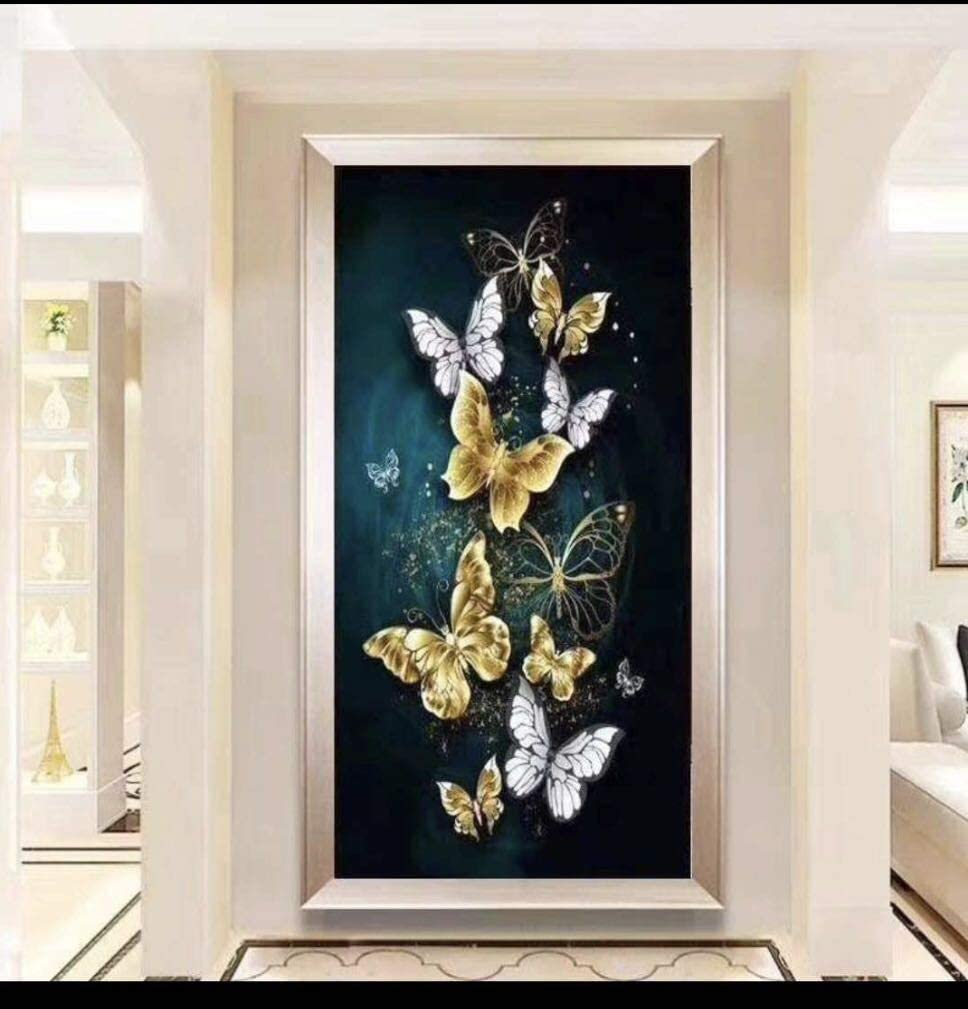 RAILONCH Butterfly 5D Diamond Painting by Number Kit DIY Full Drill Home Wall Decor (60x90cm)