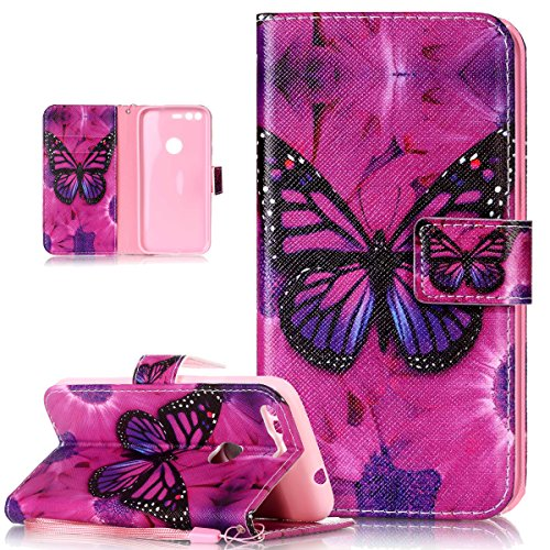 Price comparison product image Google Pixel XL Case,Google Pixel XL Cover,ikasus Colorful Art Painted PU Leather Fold Flip Wallet Case Cover Stand Card Slots Protective Case Cover for Google Pixel XL,Purple Butterfly