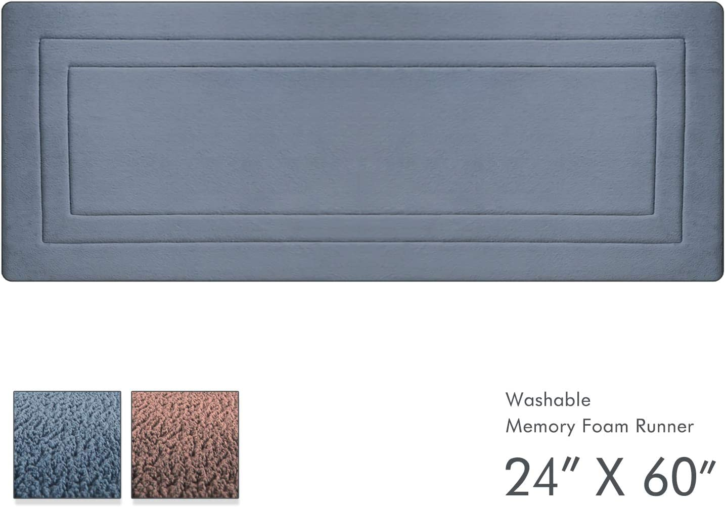 "Ellendi 24"" X 60"" Long Memory Foam Rug - Non-Slip Kitchen Runner and Large Bath Mat for Bathroom, Bedroom, and Laundry Room Floor, Gray-Blue"