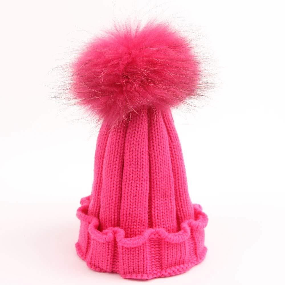 FENGJIAREN El Otoño Y El Tejida Invierno Cálido Exterior De Lana Tejida El Children's Rose Rojo Hat Linda Chica Alta Top Hat 8c120a