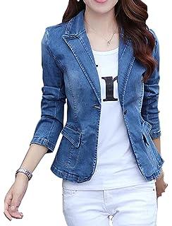 Amazon.com  HOOBEE DENIM Women s Long Sleeve Denim Blazer Jacket ... 4d3edac572