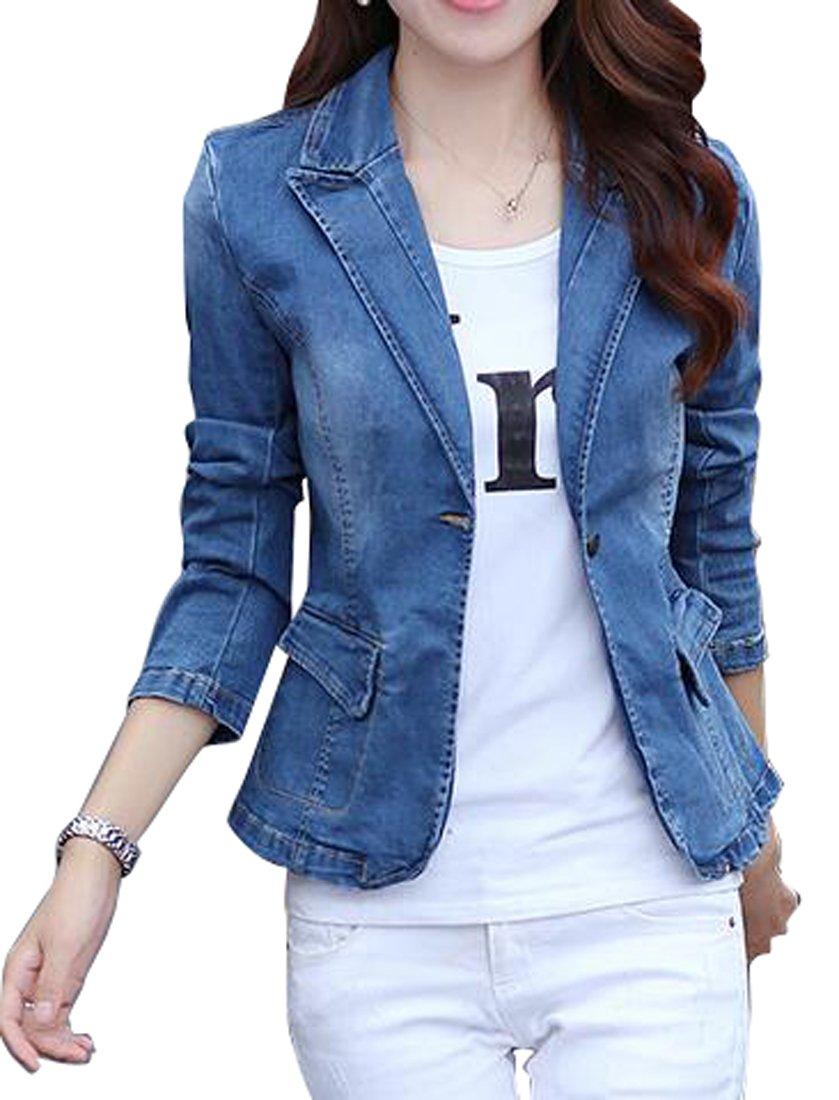 OULIU-Women Lapel One Button Casual Denim Jacket Coat Blazer 1 S