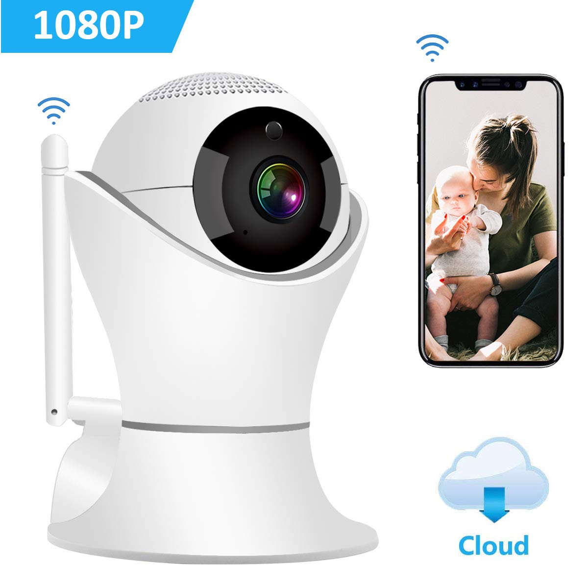 HD 1080p Wireless Indoor Security Camera, 2.4G WIFI Dome IP Camera with Pan/ Tilt /Zoom, 3D Panorama View, Two-Way Audio & 32 ft Night Vision, Motion Detection for Home Surveillance, Pet Baby Monitor
