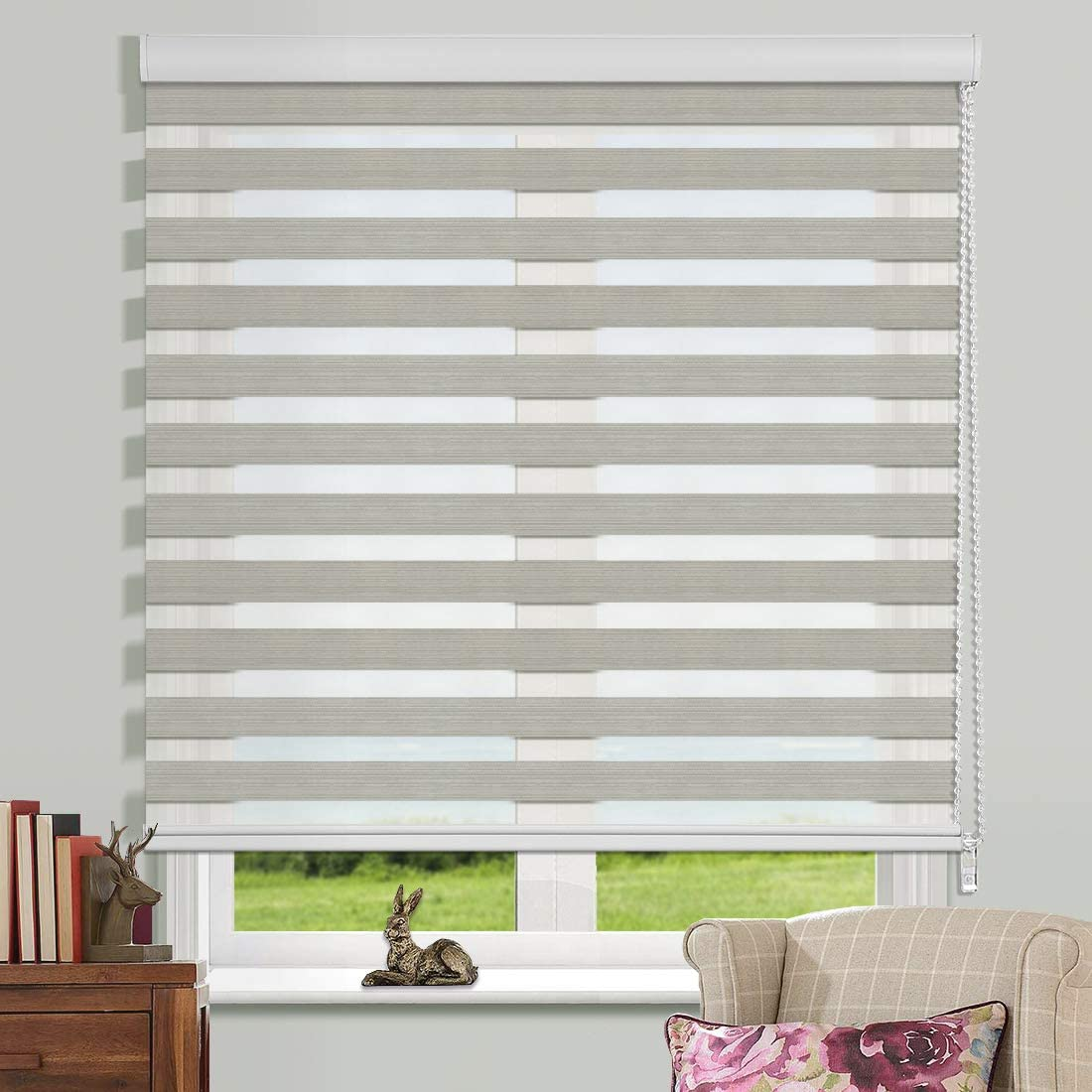 Keego Window Blinds Custom Cut to Size, Zebra Blinds Dual Layer Roller Shades, Waterproof Blackout, Grey, W 55 x H 72 inch , Sheer or Privacy Light Control Day and Night Window Curtains