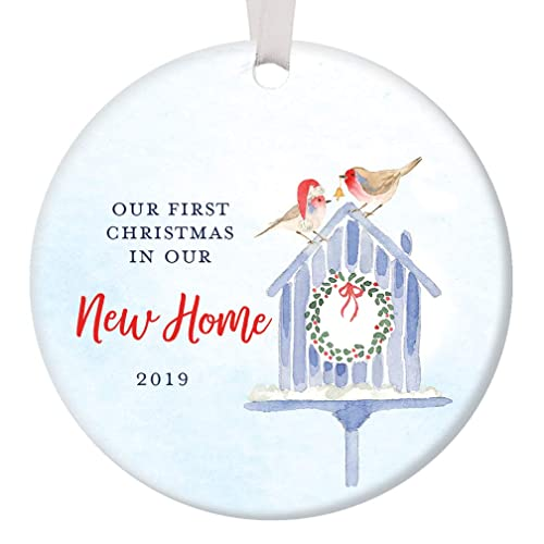 First Christmas In Our New Home 2019.First Christmas In Our New Home 2019 Housewarming Party 1st Time New House Homeowners Present Cute Bird Couple Ceramic Holiday Keepsake Present 3