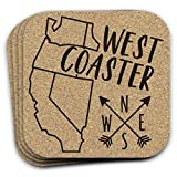 West Coaster Drink Coaster - Coastal Decor Gift Set of 4 Housewarming