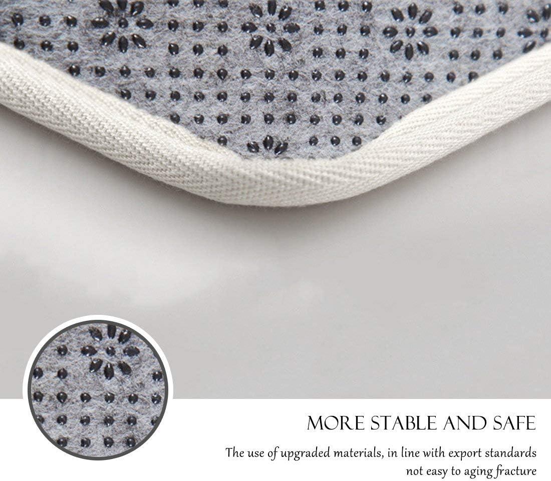 GWELL Tapis de Salle de Bain en Microfibre Tapis de Douche Rond Tapis de Sol Arbres Blanc