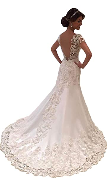 Cl Bridal Womens Beaded Lace Appliques Cap Sleeve Open Back