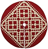 Red Diamond Square Quilted Christmas Tree Skirt 48 Inches Round 100% Cotton Handmade Hand Quilted Heirloom Quality