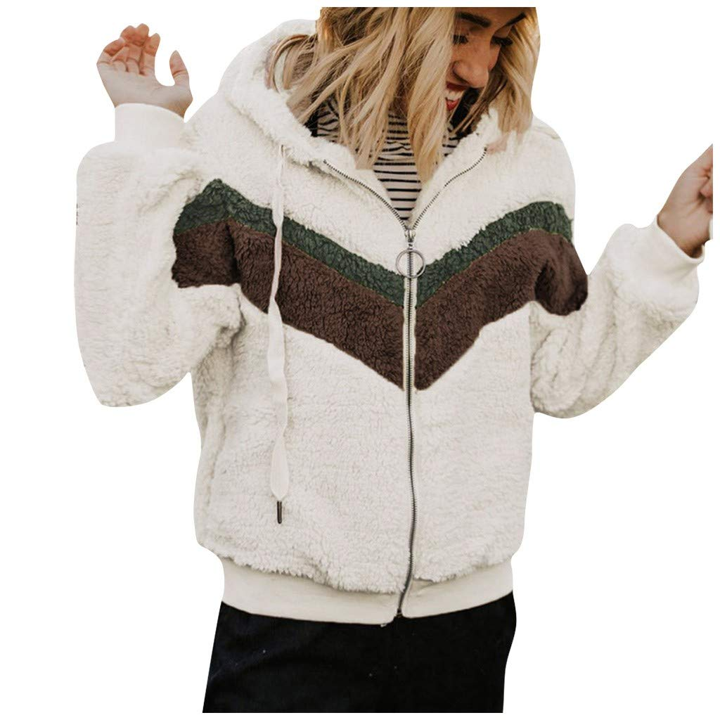 Uefaof Warm Coat Outwear for Women Autumn Winter Tracksuit Casual Stitching Color Matching Hooded Jacket Plush Coat