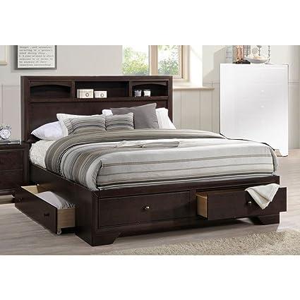 Amazoncom Benzara Bm168614 Wooden Queen Bed Dark Brown Kitchen